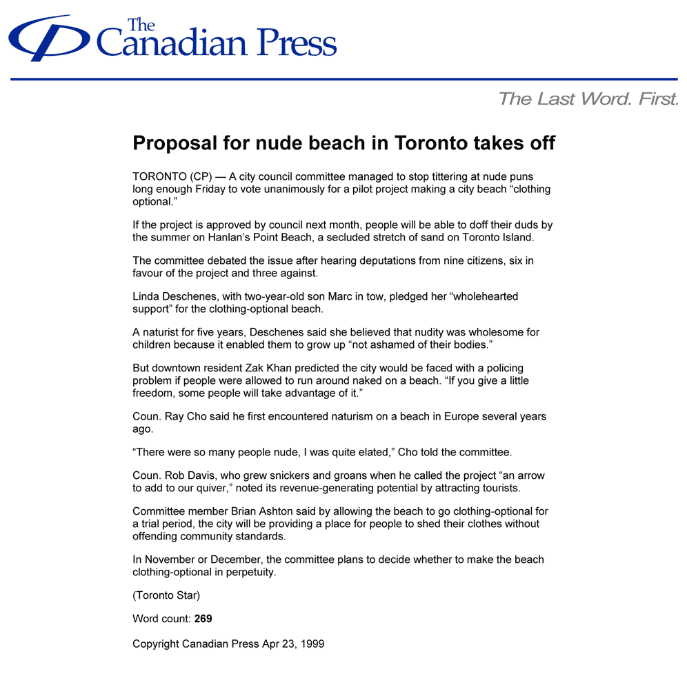 Canadian Press 1999-04-23 - Simm's Hanlan's Point proposal passes City committee